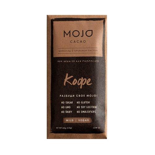 Шоколад Mojo Cacao Кофе горький с ореховой пастой, 65 г