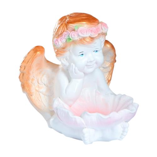 Статуэтка Хорошие сувениры Ангел с кувшинкой 27 см белый/золотистый