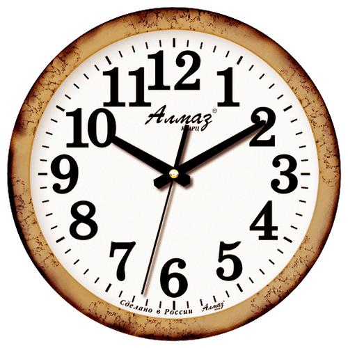 Часы настенные кварцевые Алмаз B05 коричневый