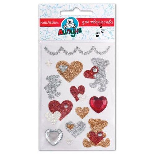 Липуня Набор наклеек Блестящие мишки с сердцами (JGS003)