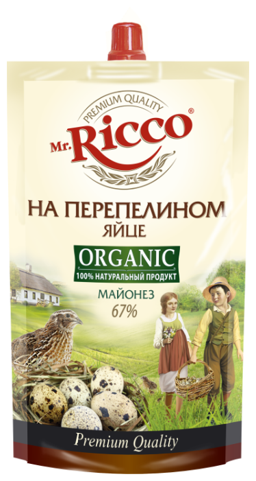 Майонез Mr.Ricco Organic на перепелином яйце 67%, 400 г.