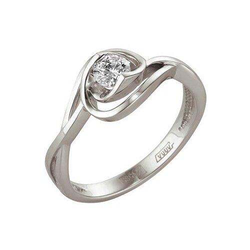 Мастер Бриллиант Кольцо с 1 бриллиантом из белого золота 1-104-997, размер 18.5
