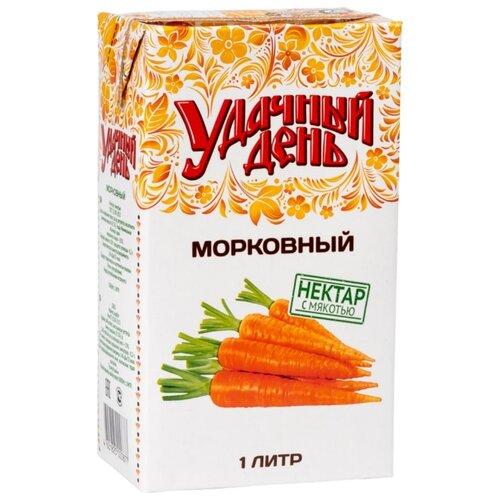 Нектар Удачный день с мякотью день морковный, 1 лСоки, нектары, морсы<br>