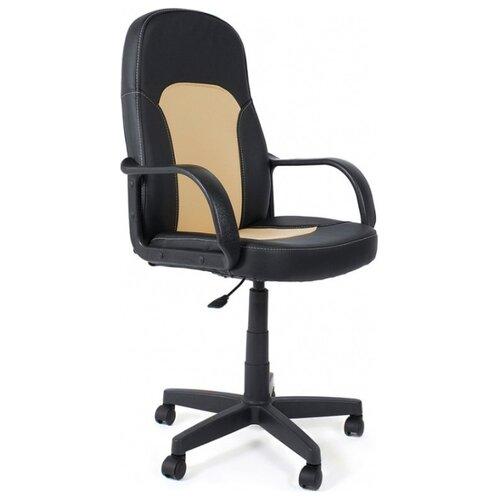 Компьютерное кресло TetChair Парма офисное, обивка: искусственная кожа, цвет: черный/бежевый компьютерное кресло tetchair jazz офисное обивка искусственная кожа цвет бежевый коричневый 4230
