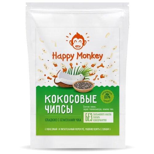 Чипсы Happy monkey Кокосовые сладкие с семенами чиа, 40 г