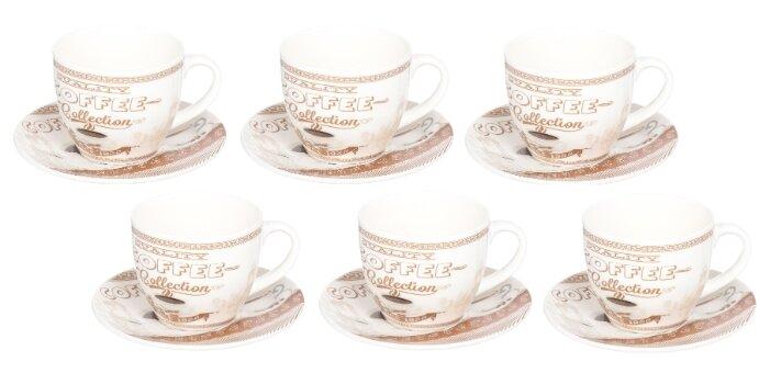 Чайный сервиз Daniks Кофе тайм 12 предметов белый/коричневый