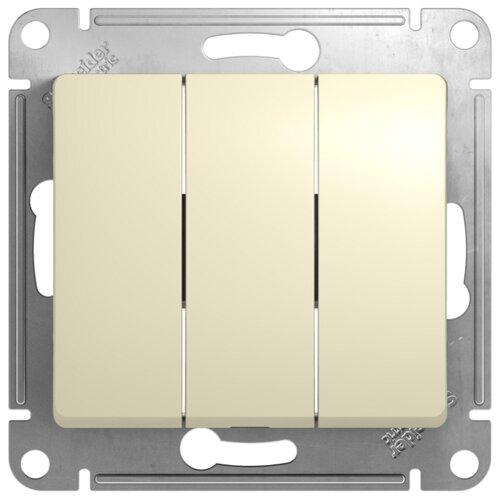 Выключатель 3х1-полюсный Schneider Electric GSL000231 GLOSSA, 10 А, бежевый выключатель 1 полюсный schneider electric atn000211 atlasdesign 10 а бежевый