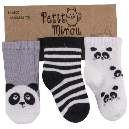 цена на Носки Petit Minou комплект из 3 пар, размер 1-6 мес, серый/синий/белый