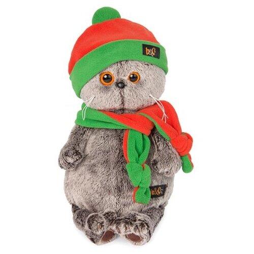 Купить Мягкая игрушка Basik&Co Кот Басик в оранжево-зеленой шапке и шарфике 25 см, Мягкие игрушки
