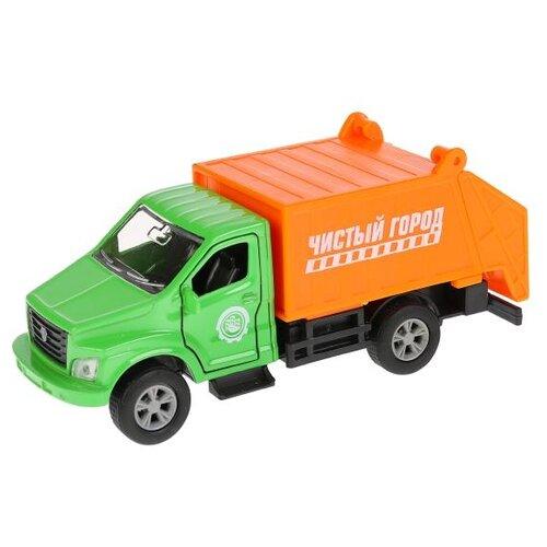 Купить Мусоровоз ТЕХНОПАРК Газон NEXT (SB-18-29-G-WB) 15.5 см зеленый/оранжевый, Машинки и техника