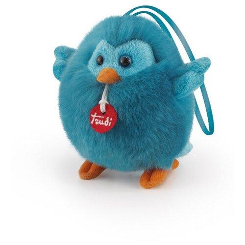 Мягкая игрушка Trudi Синяя птичка-пушистик на веревочке, 10 см