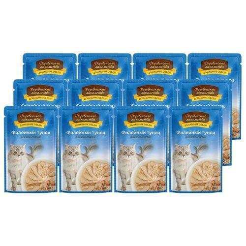 Влажный корм для кошек Деревенские лакомства беззерновой, с тунцом 12шт. х 70 г (кусочки в желе)