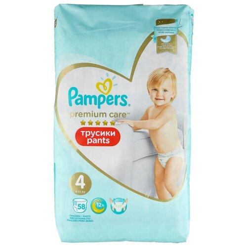 Купить Pampers Premium Care трусики 4 (9-15 кг) 58 шт., Подгузники