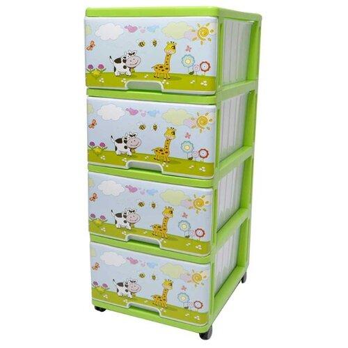 цена на Бельевой комод Dunya Plastik Пластиковый с рисунком 4 ящика на лужайке зеленый