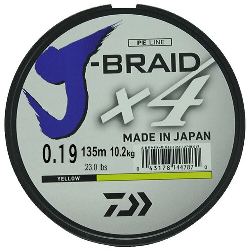 Плетеный шнур DAIWA J-Braid X4 yellow 0.19 мм 135 м 10.2 кг
