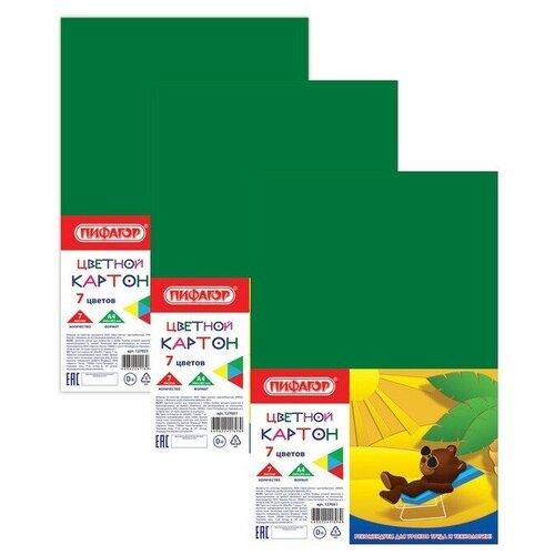 Купить Картон цветной А4 немелованный (матовый), 7 листов 7 цветов, ПИФАГОР, 200х283 мм, 127051 (3 штуки) 127051-3, Пифагор, Цветная бумага и картон