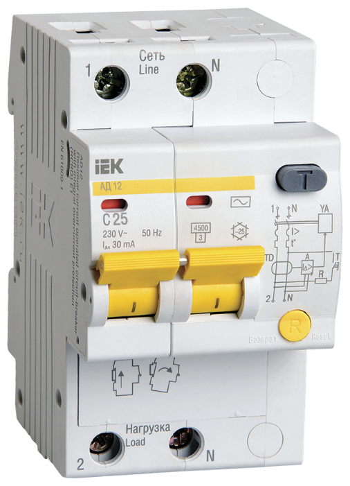 Дифференциальный автомат IEK АД12 30 мА C