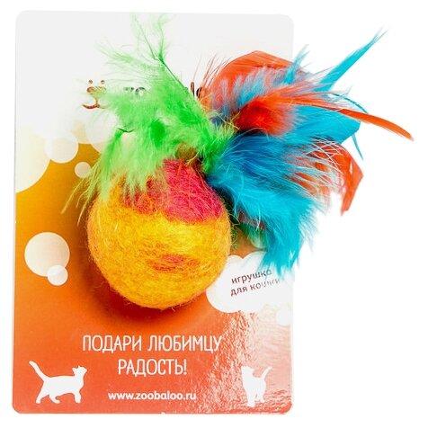 Мячик Zoobaloo Фьюжн с пером 8 см