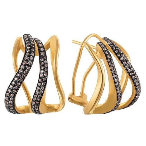 JV Золотые серьги с бриллиантами ME33541-BR-YG-DN-YG