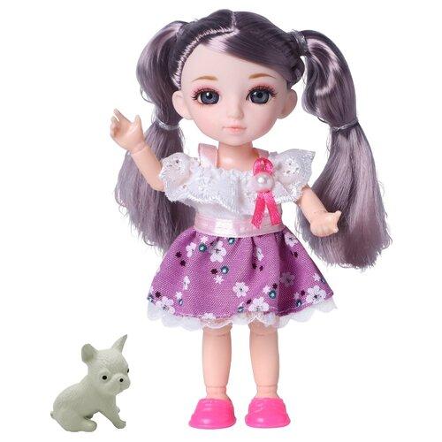 Кукла шарнирная Funky Toys Малышка Лили, шатенка, с собачкой, 16 см (FT72006)