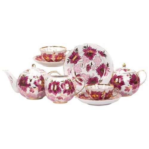 Чайный сервиз Дулёвский фарфор Тюльпан Тюльпаны 21 предмет с1293Сервизы<br>