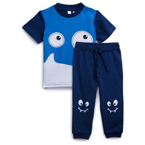 Комплект одежды playToday размер 74, темно-синий/голубой/белыйКомплекты<br>