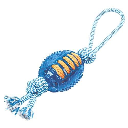 Игрушка для собак Грызлик Ам регби с веревкой Durable Rope Silent (30.GR.030) голубой