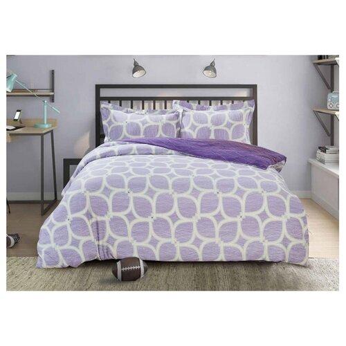 Постельное белье семейное Selena Paisley Сирень, сатин фиолетовый кпб семейное голубой попугай сирень постельное белье с рисунком