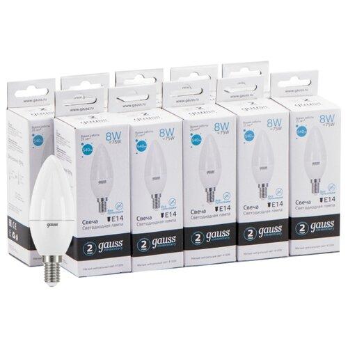 Упаковка светодиодных ламп 10 шт gauss 33128, E14, 8Вт упаковка светодиодных ламп 10 шт gauss 33228 e27 c37 8вт