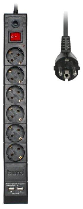 Удлинитель Buro BU-SP3_USB_2A-B 3м, 6 розеток, черный (сетевой фильтр)