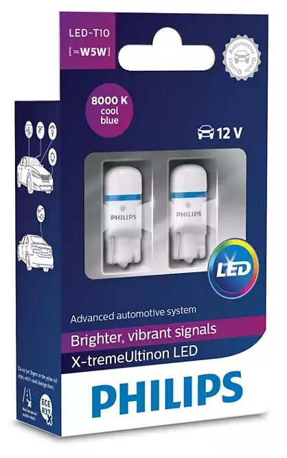 Лампа автомобильная светодиодная Philips X-tremeUltinon LED 127998000KX2 Т10 2 шт. — купить по выгодной цене на Яндекс.Маркете