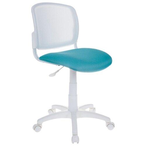 Компьютерное кресло Бюрократ CH-296NX офисное, обивка: текстиль, цвет: белый TW-15/бирюзовый 15-175