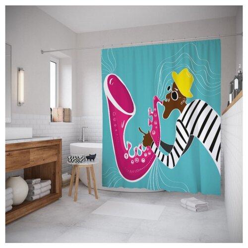 Штора для ванной JoyArty Креативный саксофонист 180x200 бирюзовый/розовый