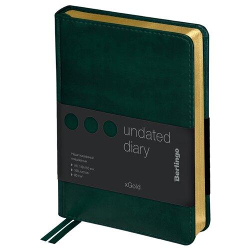 Купить Ежедневник Berlingo xGold недатированный, искусственная кожа, А6, 160 листов, зеленый, Ежедневники, записные книжки