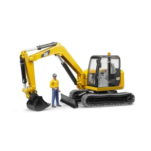 Купить Экскаватор Bruder Cat мини с рабочим (02-466) 1:16 желтый, Машинки и техника