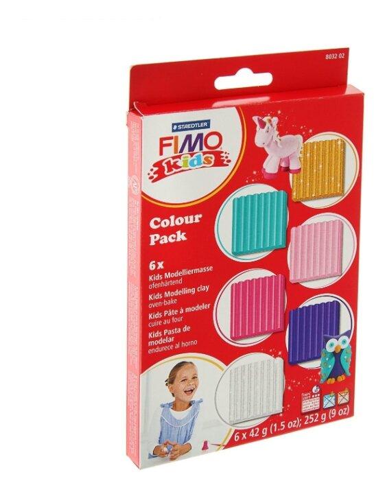 Полимерная глина FIMO kids Набор Гирли 6 блоков по 42 г (8032 02)