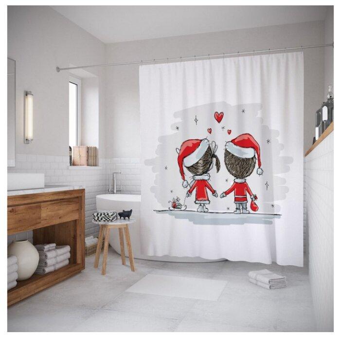 Штора для ванной JoyArty Влюбленное рождество 180x200 белый/красный