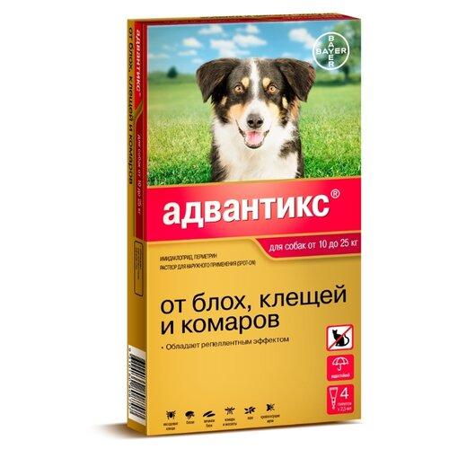 Адвантикс (Bayer) капли от блох и клещей инсектоакарицидные (4 пипетки) для собак и щенков 10-25 кг relaxivet relaxivet капли spot on успокоительные для кошек и собак 4 пипетки по 0 5 мл