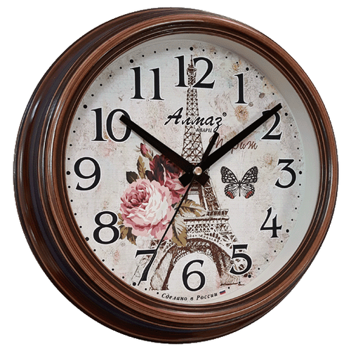 Часы настенные кварцевые Алмаз C33 коричневый/бежевый часы настенные кварцевые алмаз c25 розовый бежевый