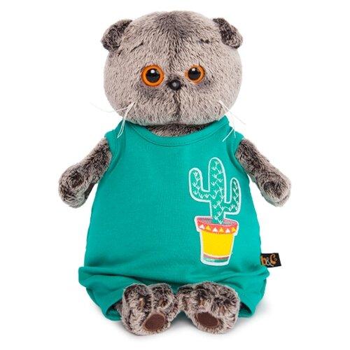 Купить Мягкая игрушка Basik&Co Кот Басик в изумрудном комбинезоне с кактусом 25 см, Мягкие игрушки