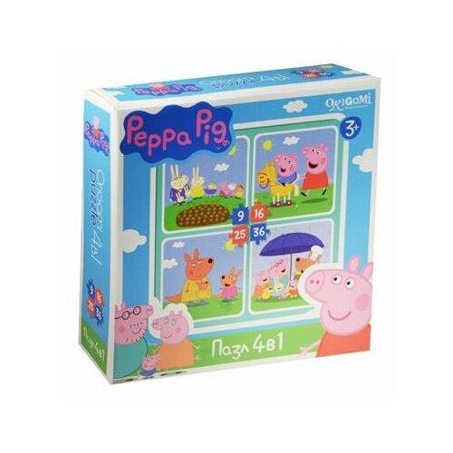 Купить Набор пазлов Origami Peppa Pig На отдыхе 4 в 1 (01599), Пазлы