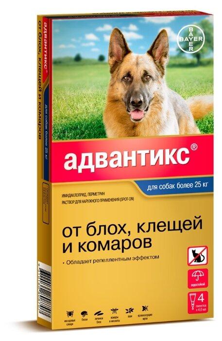 Средства от блох Bayer GL Адвантикс 400С Капли для собак более 25 кг от блох и клещей, 4 пипетки, (0,01 кг)