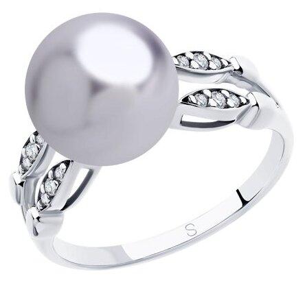 SOKOLOV Кольцо из серебра с сиреневым жемчугом Swarovski и фианитами 94012918, размер 20.5