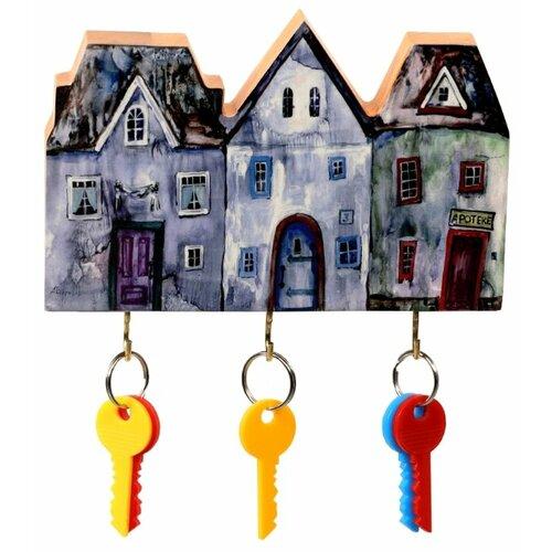 Ключница elf Маленький ночной городок, 19x13 см разноцветный