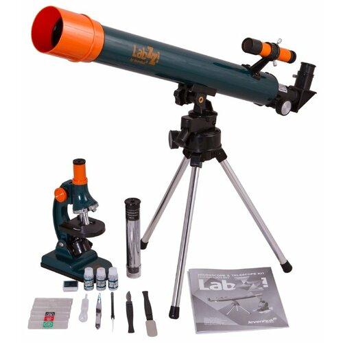 Телескоп + микроскоп LEVENHUK LabZZ MT2 зеленый/оранжевый/черный eastcolight микроскоп mp 450 телескоп 20351 26167