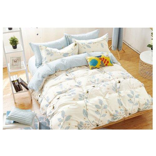 Постельное белье 2-спальное Sulyan Сад сатин белый / голубойКомплекты<br>
