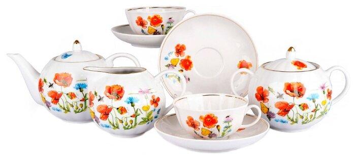 Чайный сервиз Дулёвский фарфор Тюльпан Цветущий луг 15 предметов