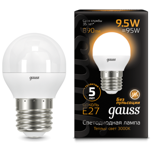 Лампа светодиодная gauss 105102110, E27, G45, 9.5Вт лампа светодиодная gauss 105802205 d e27 g45 5вт