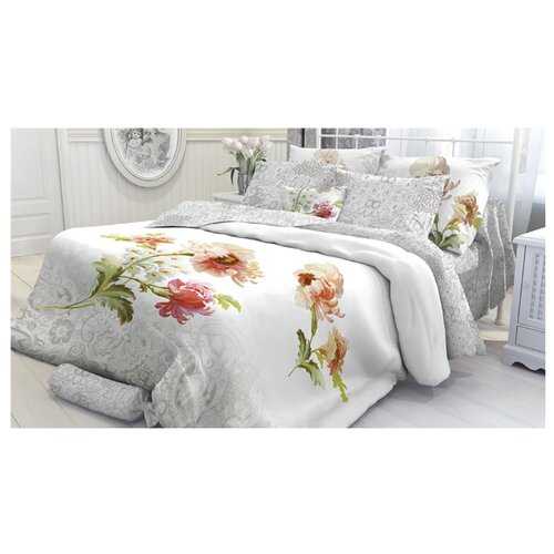 Постельное белье 1.5-спальное Verossa Romance 50х70 см, перкаль белый/серый цена 2017