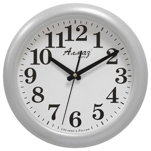 Часы настенные кварцевые Алмаз H09 белый/серебристый